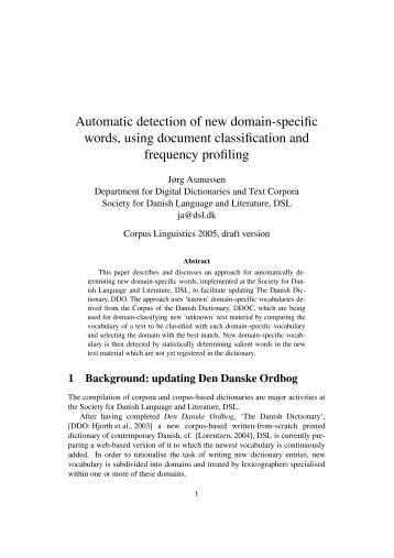 Automatic detection of new domain-specific words, using document ...