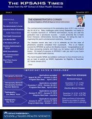 kpsahs november 2011 issue 6 draft - KP School of Allied Health ...