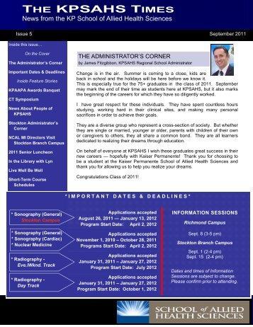 KPSAHS SEPTEMBER 2011 ISSUE 5 - KP School of Allied Health ...