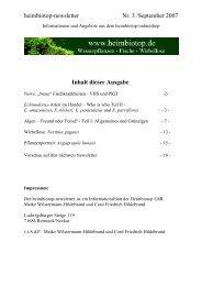 heimbiotop-newsletter Nr. 3 /September 2007 Inhalt dieser Ausgabe