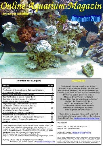 Ausgabe November 2006 - Online Aquariummagazin