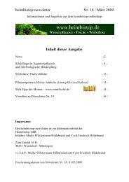 heimbiotop-newsletter Nr. 18 / März 2009 Inhalt dieser Ausgabe