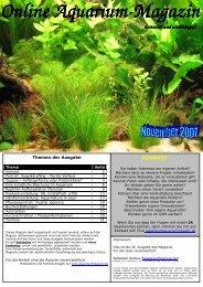 Ausgabe November 2007 - Online Aquariummagazin