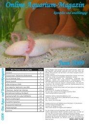 OAM Ausgabe Juni 2009 - Online Aquariummagazin