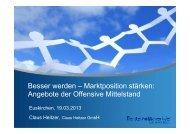 Vortrag Herr Heitzer, Claus Heitzer GmbH - Kreis Euskirchen