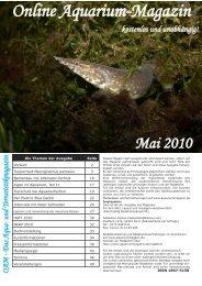 Online Aquarium-Magazin Mai 2010 - Die Wirbellosen