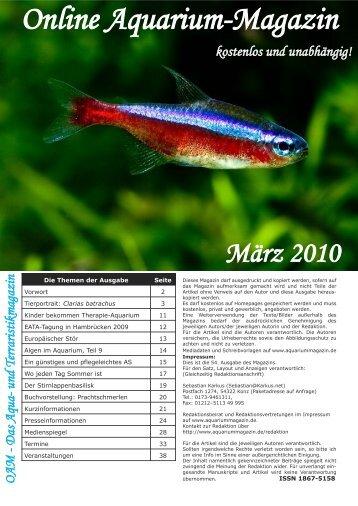 OAM Ausgabe März 2010 - Online Aquariummagazin