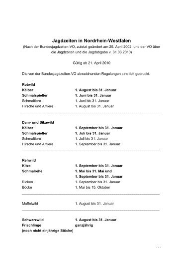 Jagdzeiten in Nordrhein-Westfalen