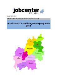 Arbeitsmarkt – und Integrationsprogramm 2013 - Kreis Euskirchen