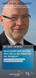 Neutralität und Laizität - Universität Augsburg