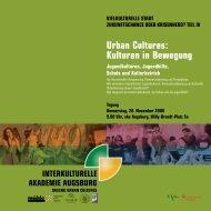 urban cultures: kulturen in Bewegung - Kulturhaus Kresslesmühle