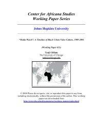 Center For Africana Studies Working Paper Series - Krieger School ...