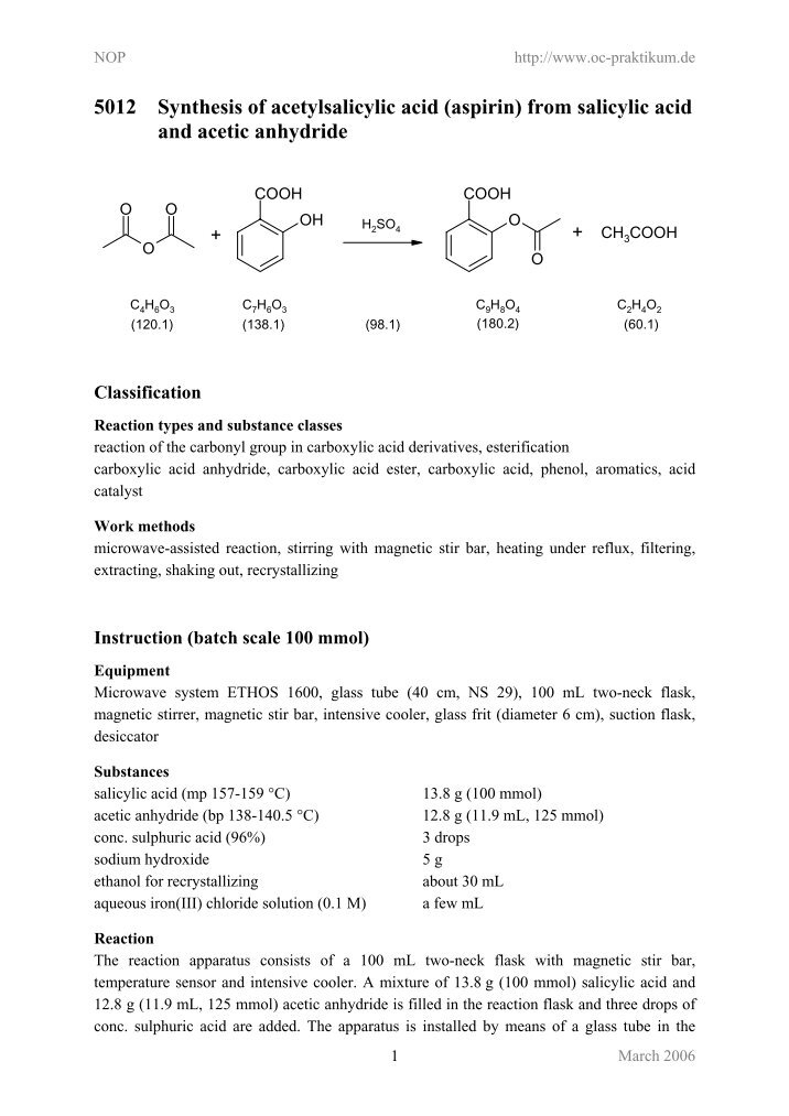 15 synthesis of ethyl salicylate from Ethyl alcohol ethyl salicylate 94(49) 42(19) i vol 15, no 9 catalytic synthesis of salicylate esters over cordierite honeycomb coated with mo.