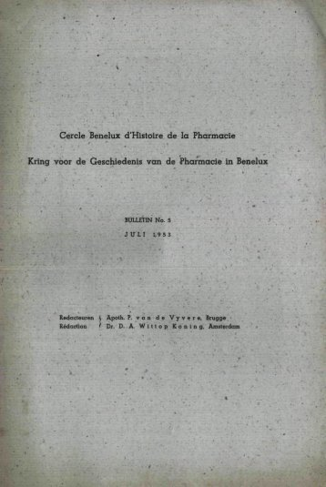 1953-005 geschiedenis/histoire pharmacie - Kringgeschiedenis