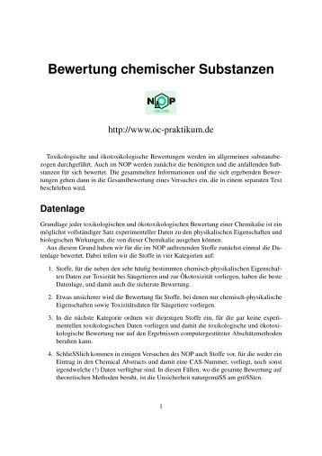 Bewertung chemischer Substanzen - kriemhild