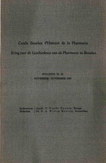 Cercle Benelux d'Histoire de la Pharmacie - Kringgeschiedenis