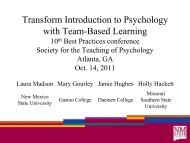 Using Team Based Learning in Psychology