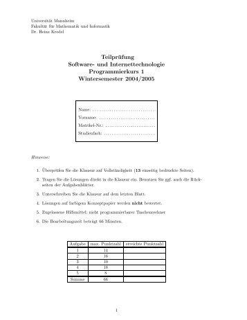 Wintersemester 2004/2005 - Universität Mannheim
