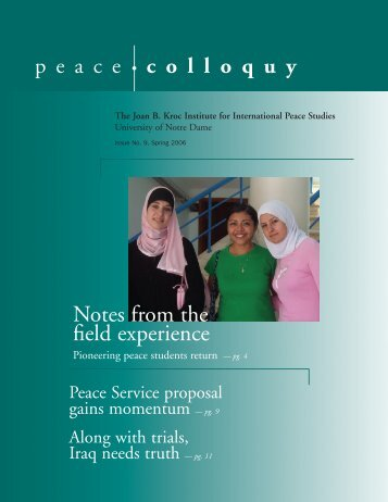 Spring 2006 - Kroc Institute for International Peace Studies ...