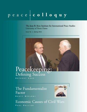 Spring 2002 - Kroc Institute for International Peace Studies ...