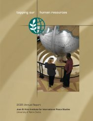 2005 - Kroc Institute for International Peace Studies - University of ...