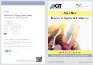KSOP MSc Open Day: Program Flyer - Karlsruhe School of Optics ...