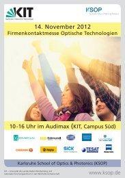 14. November 2012 - Karlsruhe School of Optics & Photonics - KIT