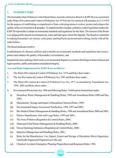 Annual Report 2003 04 Karnataka State Pollution Control Board