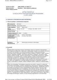 letno poročilo o rezultatih raziskovalnega programa v letu 2009