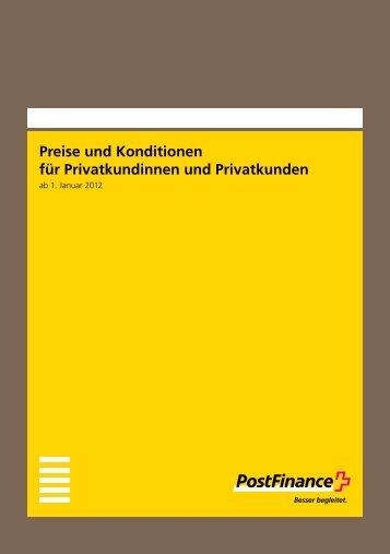 Preise und Konditionen für Privatkundinnen und Privatkunden