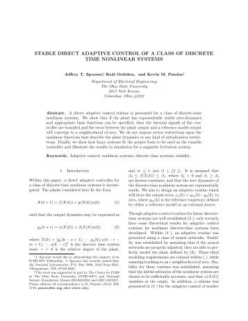 stable direct adaptive control of a class of discrete time nonlinear ...
