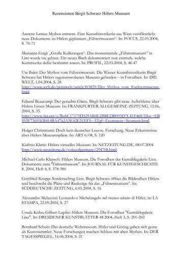 Rezensionen Birgit Schwarz Hitlers Museum Annette Lettau: Mythos ...