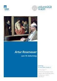 Artur Rosenauer - Institut für Kunstgeschichte - Universität Wien