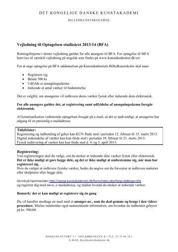 Vejledning til Optagelsen studieåret 2013/14 (BFA) - Det Kongelige ...