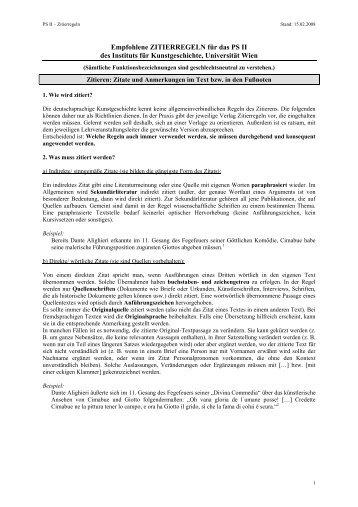 Empfohlene ZITIERREGELN für das PS II des Instituts für ...