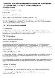 Verordnung über die Lehrgänge und Prüfungen zum ... - Kursnet