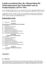 Landesverordnung über die Abiturprüfung für ... - Kursnet