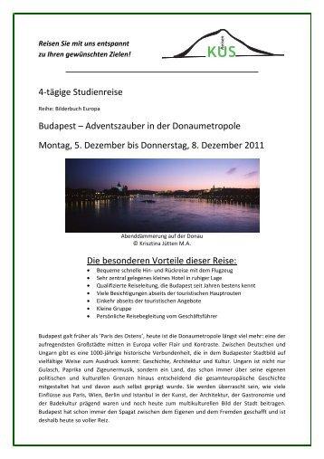 Budapest - 4 Tage Studienreise - 5. bis 8. Dezember ... - KUS Reisen