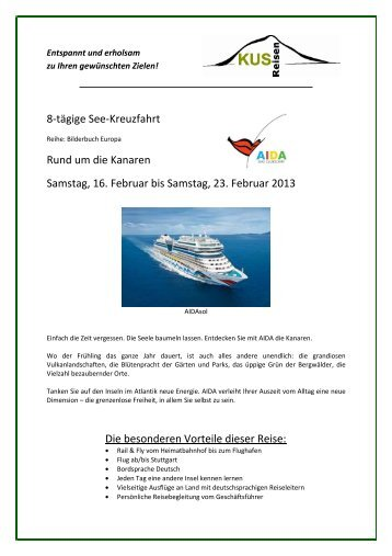 Kanaren mit AIDAsol - 8 Tage Seekreuzfahrt - 16. bis ... - KUS Reisen