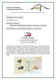 8-tägige Flusskreuzfahrt Rhone und Saone - KUS Reisen