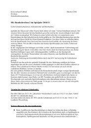 SR- Rundschreiben 2 im Spieljahr 2010/11 - Kvfz.de