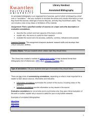 Annotated bibliography - Kwantlen Polytechnic University