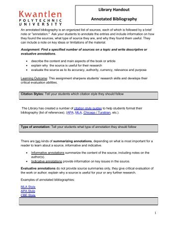 annotated bibliography kwantlen