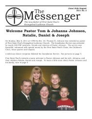 Welcome Pastor Tom & Johanna Johnson, Natalie, Daniel & Joseph
