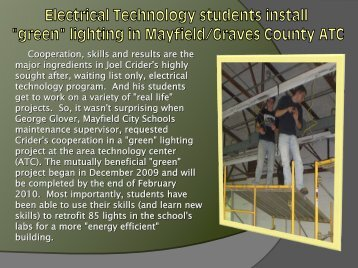 """Flash #309 - Electrical Technology students install """"green"""""""