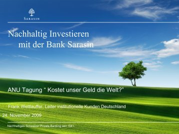 Sarasin Sustainability-Matrix - ANU Hamburg