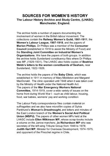 Sources for Women's History - Labour History Resources