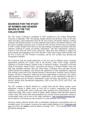 LONDON METROPOLITAN UNIVERSITY - Labour History Resources