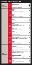 Programme du 13 au 17 novembre 2012