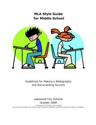 MLA Style Guide for Middle School - Lakewood City Schools